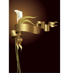 Lily with gold ribbon vector