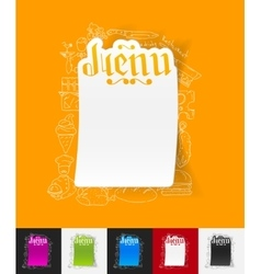 Menu paper sticker with hand drawn elements vector