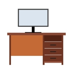 Computer desk flat icon vector