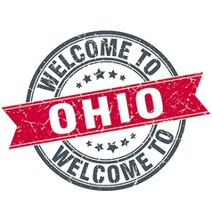 Welcome to ohio red round vintage stamp vector
