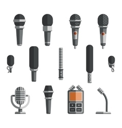 Microphones and dictaphone flat icons vector