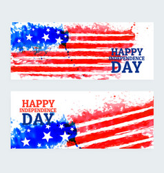 american independence day banners with watercolor vector image