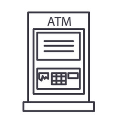 atm machinepayment line icon sign vector image vector image