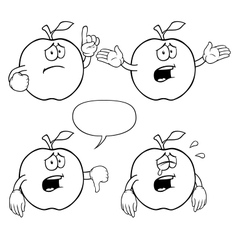 Black and white crying apple set vector image vector image