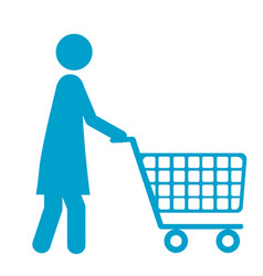 Blue silhouette of pictogram woman with shopping vector