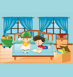 boys reading book in the bedroom vector image