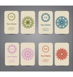 Business card vintage geometric elements vector