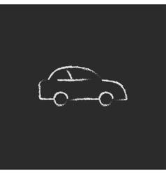 Car icon drawn in chalk vector