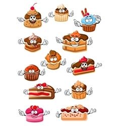 Cartoon happy pastry and bakery vector image vector image