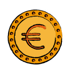 Coin euro money cash currency icon vector