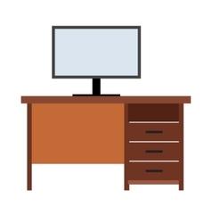 Computer desk flat icon vector image