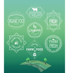 Farm fresh logos and emblems vector