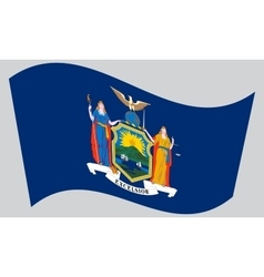 Flag of New York state waving on gray background vector image