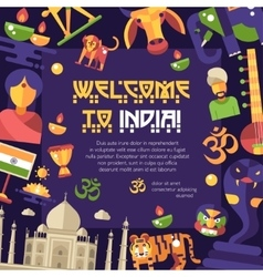 Flat design india travel flyer with famous indian vector
