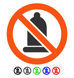 Forbidden condom flat icon vector