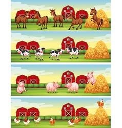 Four scenes of farm animals in the farm vector