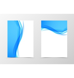 Front and back dynamic wavy flyer template design vector