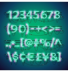 Glowing Double Neon Green Numbers vector image