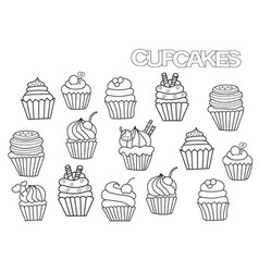 hand drawn cupcakes set coloring book page vector image