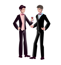 happy gay wedding couples holding hands vector image vector image