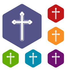 Holy cross icons set hexagon vector