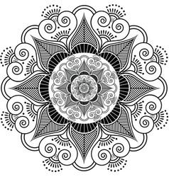 Indian henna tattoo flower pattern vector image