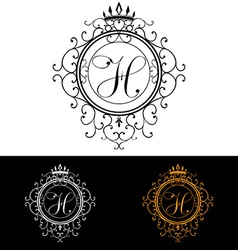 Letter h luxury logo template flourishes vector