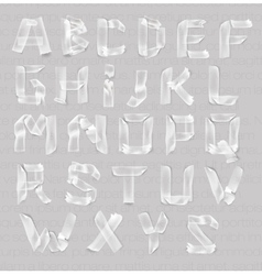 Letters of the alphabet of adhesive transparent vector