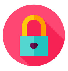 Love padlock circle icon vector