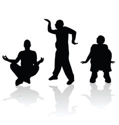 man silhouette in various poses vector image vector image