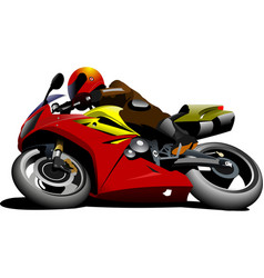 Motorcycle on the road biker vector