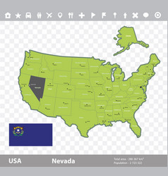 nevada flag and map vector image vector image