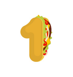 Number 1 tacos mexican fast food font one taco vector