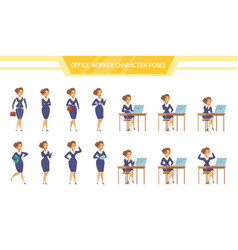 office worker female ale poses set vector image vector image