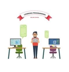 Online school leaning programming vector