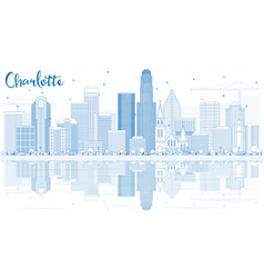 outline charlotte skyline with blue buildings and vector image vector image
