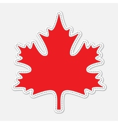 Red seam maple leaf with white contour vector