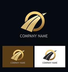 Round arrow gold business logo vector