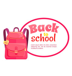Rucksack for girl in pink colors with inscription vector
