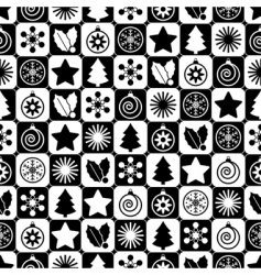 seamless black and white Christmas vector image vector image