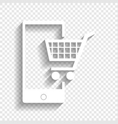 Shopping on smart phone sign white icon vector