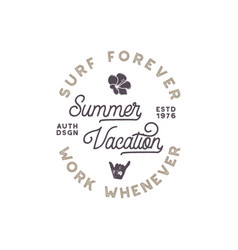 Summer vacation label surfing style emblem vector