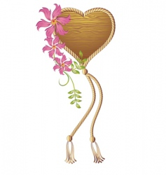 Wooden heart vector