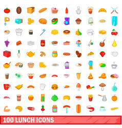 100 lunch icons set cartoon style vector