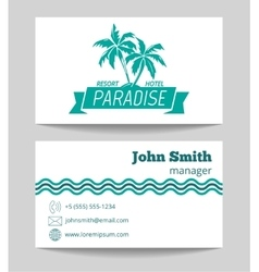 Tropical hotel business card template vector image