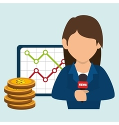 Woman rating news money vector