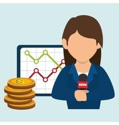 Woman rating news money vector