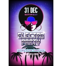 Electro party poster retro 80s neon background vector