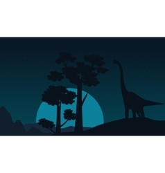 Tree and brachiosaurus scenery of silhouettes vector