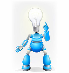 Blue robot light bulb head vector